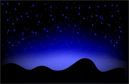 Paisaje nocturno del desierto y el cielo lleno de estrellas
