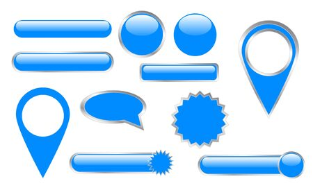 Set of blue buttons and pins  Illustration