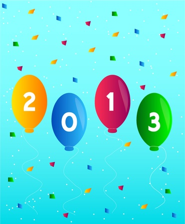 Happy new year 2013 with balloons and confetti Vector Vector