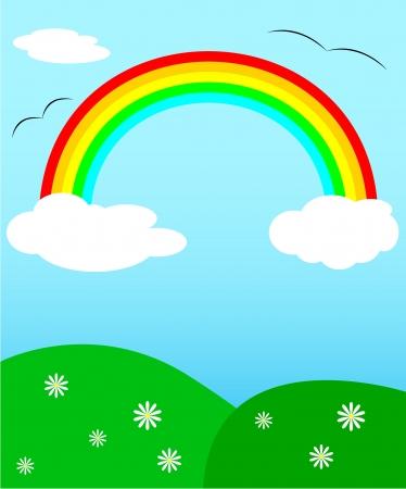buzzard: Landscape with rainbow, daisy and buzzard Illustration