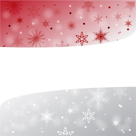 Red and silver christmas card with snowlakes Vector