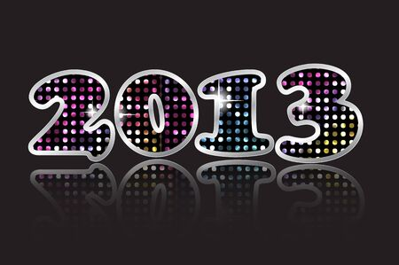 Happy new year 2013 card with glowing mosaic and reflection  Vector