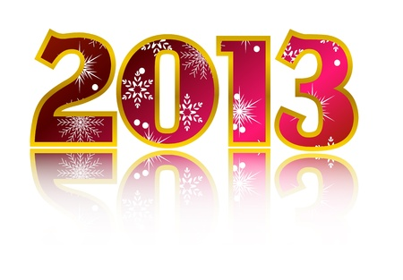 New year 2013 card with reflection Vector