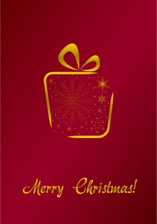 Vrolijk Kerstfeest rode kaart met gouden geschenk Vector