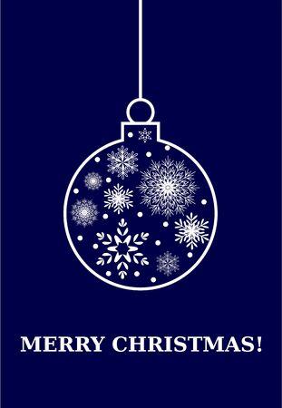 Feliz tarjeta de Navidad, Vector bombilla con los copos de nieve