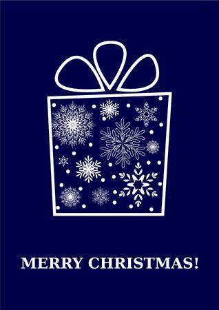 Merry christmas card, caja de regalo con los copos de nieve Vector
