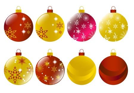 Juego de Navidad rojo y oro bombilla Vectores