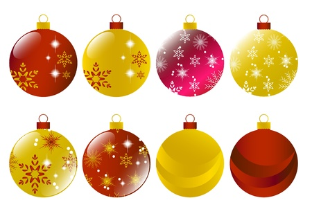 Set of christmas red and gold bulb  Illustration