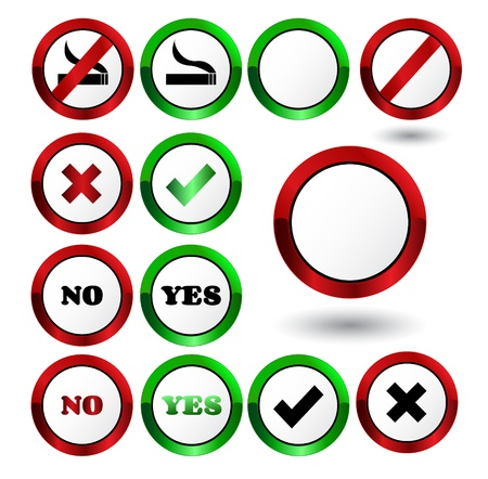 Set of yes and no check mark buttons Stock Vector - 17041353