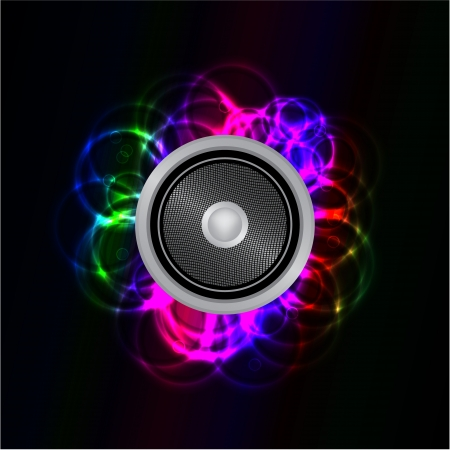 Abstract glowing neon music speaker  Vector