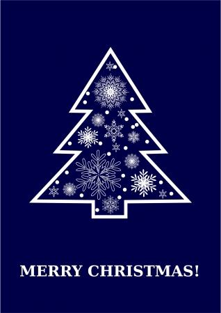 Feliz Navidad tarjeta azul oscuro, blanco �rbol de Navidad con copos de nieve