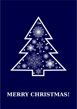 Merry christmas dark blue card, white christmas tree with snowflakes   Vector