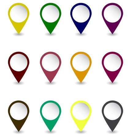 Set of pins in dark retro colors Illustration