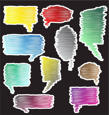 Kleurrijke krabbel sprekende bellen