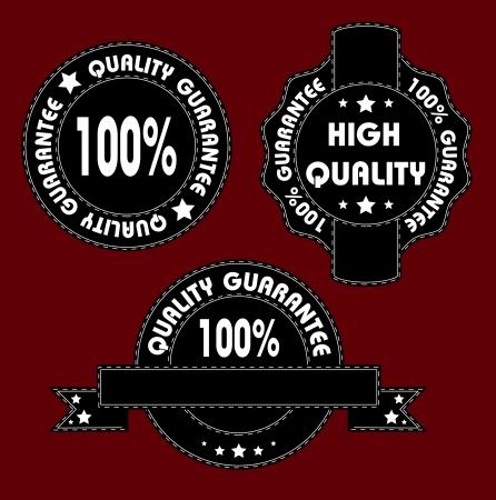 seam:  Black and white quality label with seam  Illustration