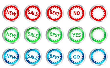 Shiny buttons, star in circle with metal Vector, place for your text Vector
