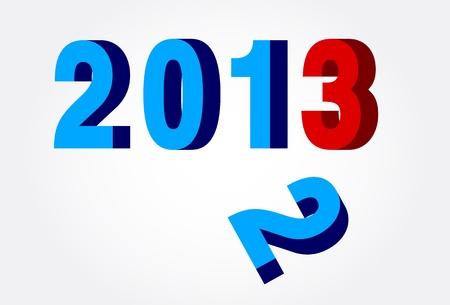 fin d annee: 3D bleu et rouge Nouvel An 2013 et la fin de l'ann�e 2012 Vector Illustration