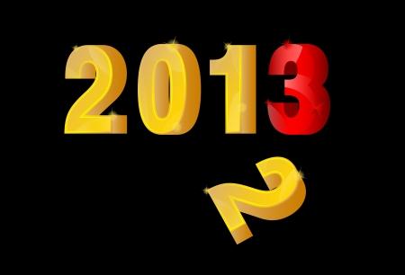 fin de ao: 3D oro y plata A�o Nuevo 2013 ya finales del a�o 2012 Vector