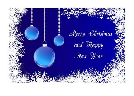 Merry christmas blauwe kaart met sneeuwvlokken en bol Vector Stock Illustratie