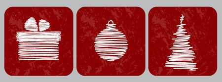 Christmas retro icon Vector  Scribble tree, bulb and gift box on red grunge background