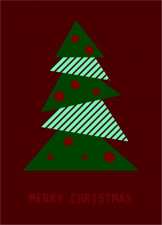 Retro origami christmas tree Vector  Vector