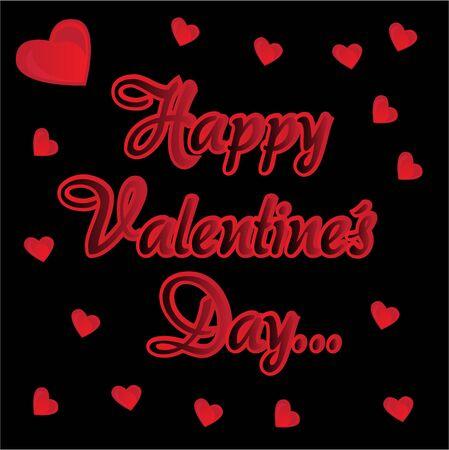 Tarjeta de inscripci�n Feliz D�a de San Valent�n con corazones Vector