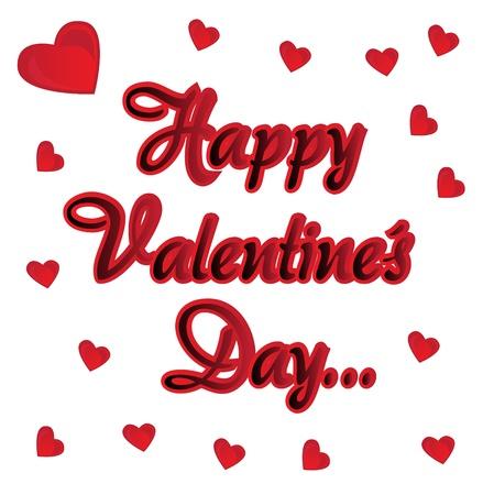 Inschrijving Fijne Valentijnsdag kaart met hartjes Vector