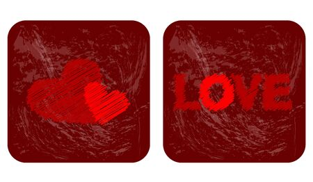 Iconos de amor, corazones del garabato