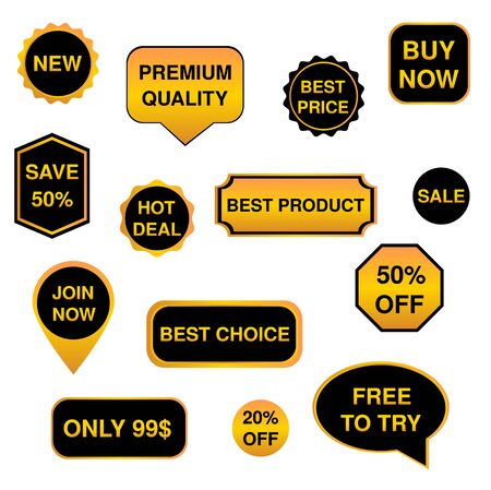 Black and gold set of stickers, labels, badges   Stock Vector - 17266184