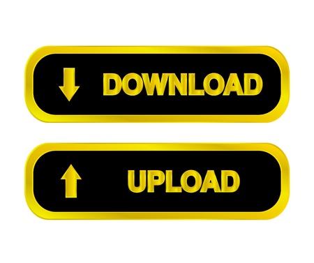 Negro y oro botones web, iconos de descarga, de carga