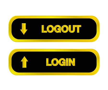Black and gold web buttons, icons Login, logout