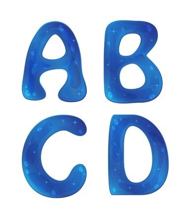 Abstract water blue alphabet Stock Vector - 17266213