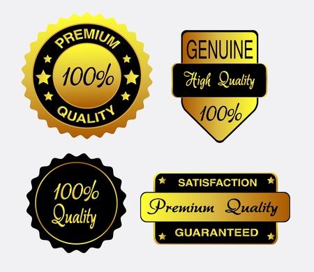 Oro y negro conjunto de etiquetas de calidad, insignias