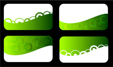 Set of green business card with circles