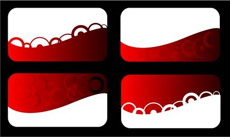 Set of red business card with circles