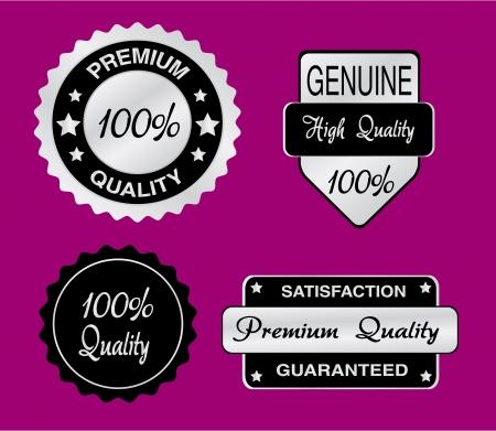 Conjunto de plata y negro de las etiquetas de calidad