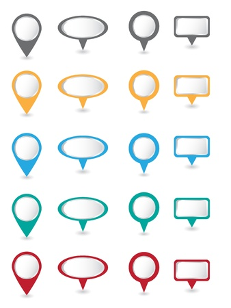 Big set of color pins Vector Illustration