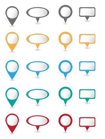 Gran conjunto de vectores de color pins Vectores