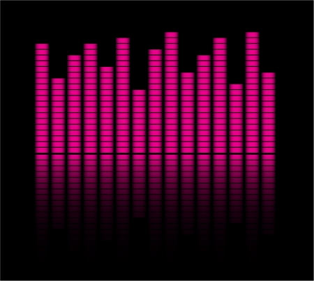 decibel: Audio level pink  LED from Music Studio with reflection Color scale equalizer Music decibel