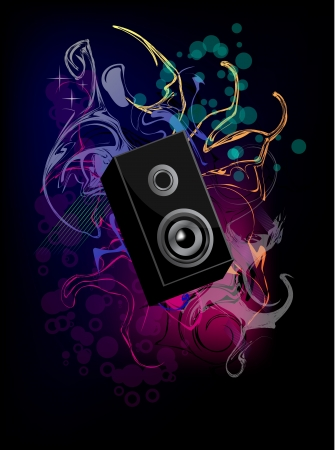 Loudspeaker with abstract background Music Vector