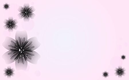 Flor Negro en rosa Vector de fondo