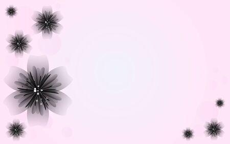 Zwarte bloem op roze achtergrond Vector Stock Illustratie
