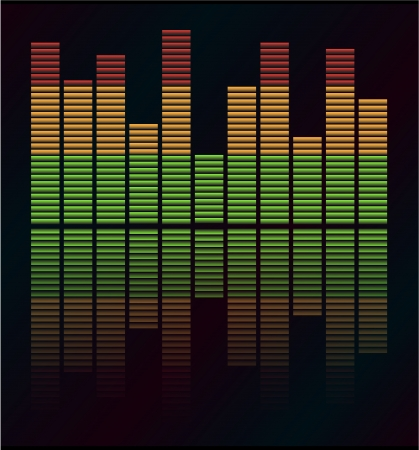 decibel: Audio level LED from Music Studio with reflection Vector  Color scale equalizer Vector  Music decibel Vector  Illustration