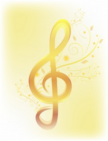 Gold treble clef with flower Vector Floral music background Illustration