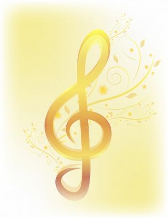 Gouden solsleutel met bloem Vector Floral muziek achtergrond