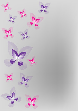 Pink and purple butterfly wallpaper card Vector Illustration