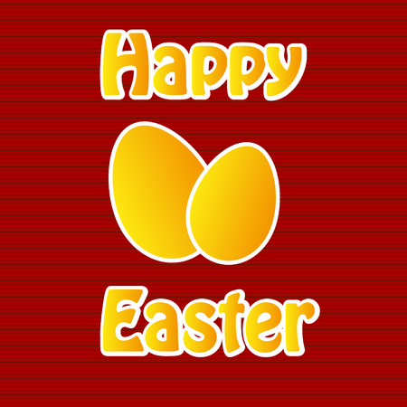 Red easter card with eggs Vector Illustration