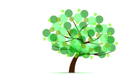 Abstract isolated tree from green circles Vector Illustration