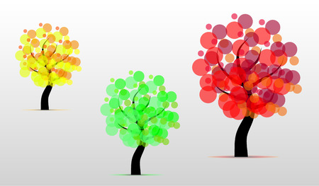 Set of abstract isolated tree from green circles Vector