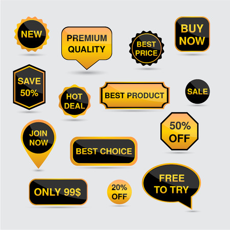 Gold and black set of stickers, labels, badges and icon Vector  Illustration